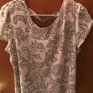 Grey bar back LOFT blouse tulip sleeves
